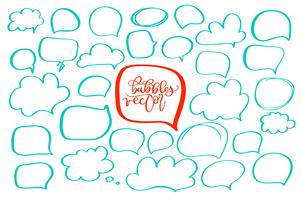 set of handdrawn doodle bubbles for your text. design for comics Speech situation phrases. Vector illustration