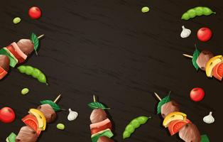 Delicious Kebab Barbecue Wooden Template