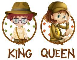 Pojke och flicka i safari outfit