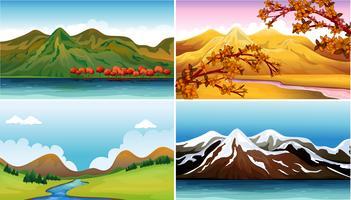 Quattro scene di sfondo con montagne