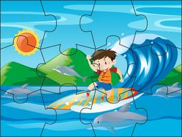 Jigsaw puzzle pieces for boy on surfboard