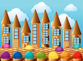Candy towers and icecream with different flavors