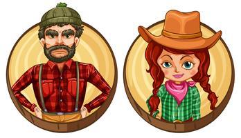 Manlig och kvinnlig vuxen på rund emblem