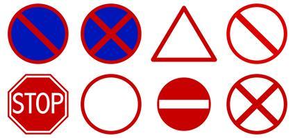 Diferentes señales de tráfico sobre fondo blanco