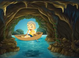 Menino, remando barco, ligado, a, rio