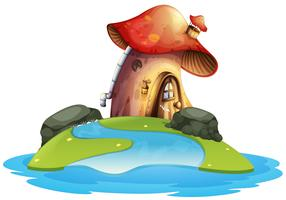 Pilzhaus auf der Insel