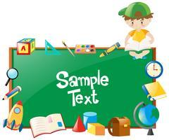 Progettazione del confine con il ragazzo e molti oggetti scolastici