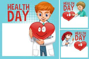 Border template with doctors on health day vector