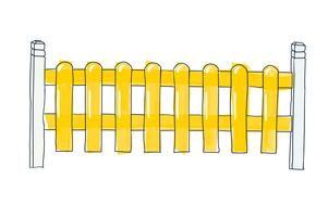 Funny sketch fence from flat slats, painted in yellow Vector sketch in doodle style of pen on paper with space for text on white background