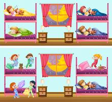 Dos escenas de niños en dormitorios.