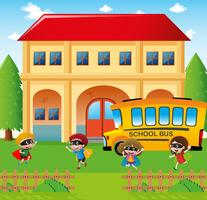 School scene with students and bus