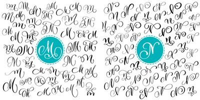 Set letter M, N. Hand drawn vector flourish calligraphy. Script font. Isolated letters written with ink. Handwritten brush style. Hand lettering for logos packaging design poster