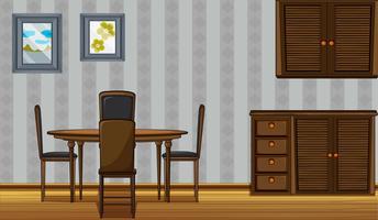 Houten meubels in een huis
