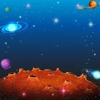 Escena espacial con muchos planetas.