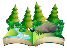 Tema de naturaleza de libro abierto aislado