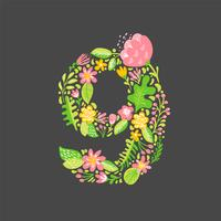 Floral summer Number 9 nine. Flower Capital wedding Alphabet. Colorful font with flowers and leaves. Vector illustration scandinavian style
