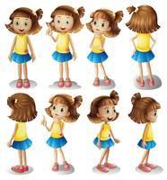 Personaje de chica en diferentes posiciones.