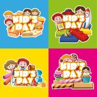 Póster de cuatro diseños para el día del niño.