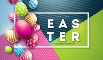 Illustration vectorielle de joyeuses fêtes de Pâques avec des oeufs peints sur fond coloré.