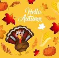 Turkey on autumn card template
