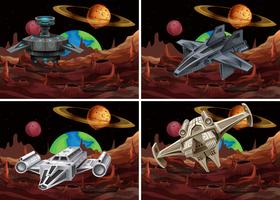 Four scenes of spaceship flying in space