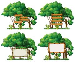 Vier framesjablonen op grote bomen
