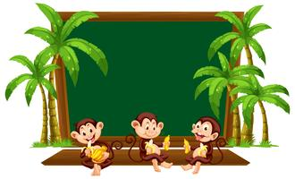 Three monkey on blackboard template