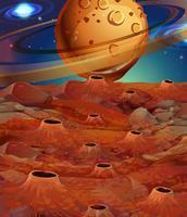 Scène de fond avec des planètes et une surface lunaire