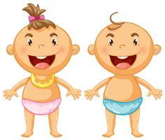 Deux enfants en serviettes bleu et rose