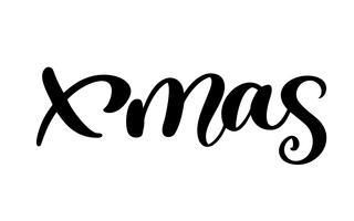 Weihnachten Kalligraphie Schriftzug Wort. Weihnachten und Neujahr. Vektor-Illustration EPS. Dekor für Grußkarte