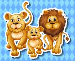 Lion family on blue background