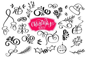 set of Christmas design element in doodle style. Vector illustration