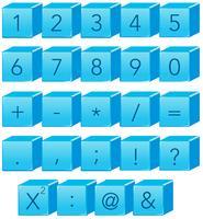 Blått tal och matte symbol