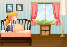 A girl smiling at her room