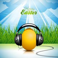 Ilustración de Pascua con huevo musical sobre fondo de primavera.