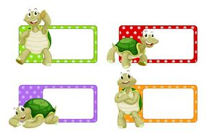 Label design with cute turtles