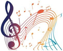 Colorful musicnotes on white background