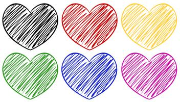 Six hearts in different colors