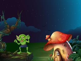 Monstruo verde por casa de setas en la noche