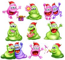 Monsters celebrating christmas