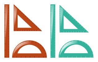 Righelli e triangoli in marrone e blu