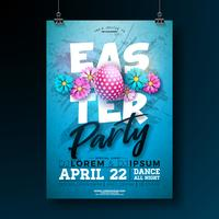 Vector Easter Party Flyer Illustration with painted eggs and flower on blue background.