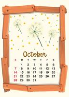 Modello di calendario per ottobre