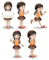 Cinque diverse posizioni di una ragazza