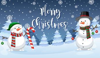 Carte de bonhomme de neige joyeux Noël