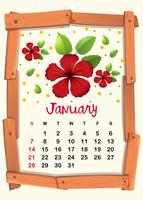 Calendar template with red hibiscus for January