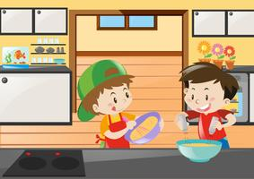 Two boys baking in kitchen