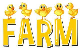 Lettertype ontwerp voor woord boerderij