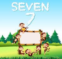 Sieben Affen am Holzbrett