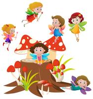 Many fairies flying on mushroom